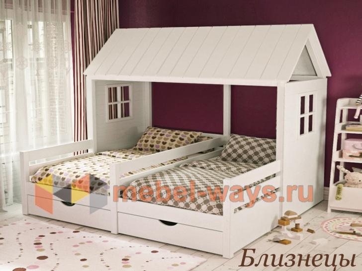Кровать-домик для двух детей двойняшек «Близнецы» в белом цвете
