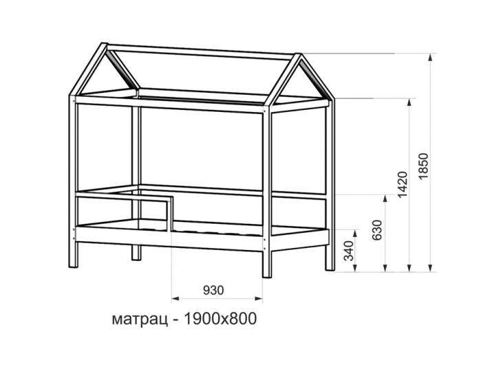 Кровать-домик для подростка «ДК-05» с размерами
