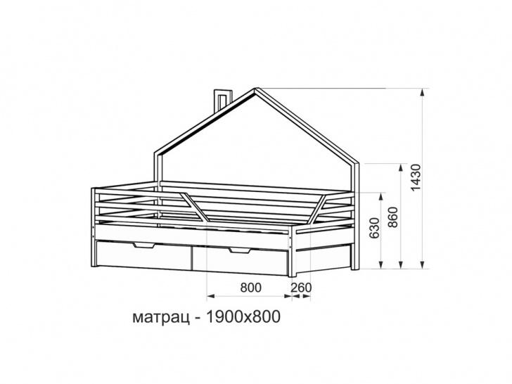 Кровать-домик из массива «ДК-04» с размерами