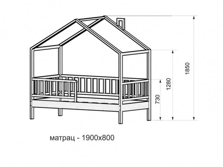 Кровать-домик из сосны «ДК-03» размеры