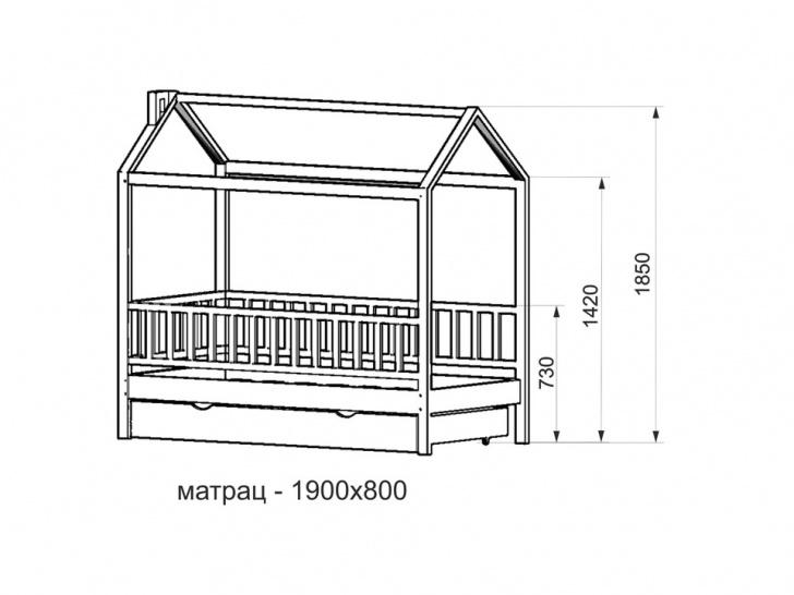 Кровать-домик с бортиками «ДК-01» чертеж