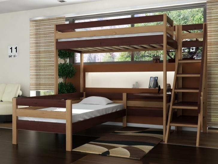 Кровать двухъярусная буквой «Г» «Руфина 35» в контрастных оттенках дерева