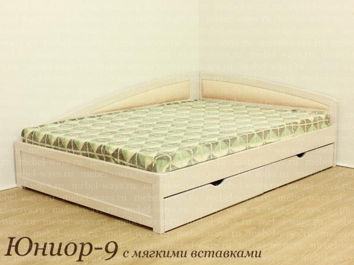 Двуспальная кровать с мягкими спинками «Юниор-9»