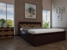 Кровать с деревянным изголовьем «Августина-14»