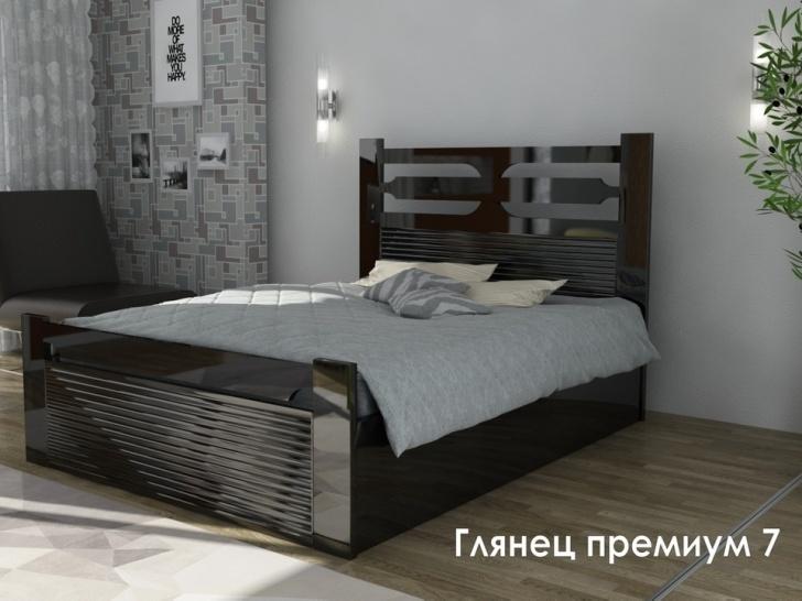 Кровать с глянцевым изголовьем «Глянец Премиум-7»