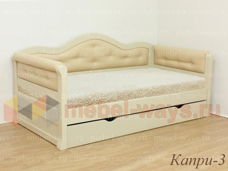 Кровать с красивой мягкой спинкой и ящиками «Капри-3»