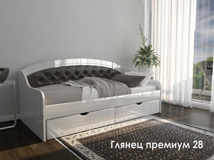 Кровать с ящиками и мягкой спинкой «Глянец Премиум-28»