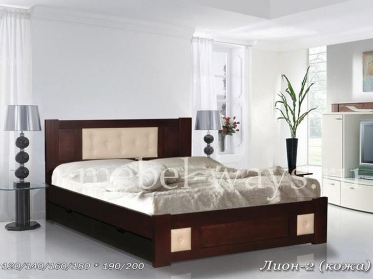 «Лион-2» кровать с кожаными вставками