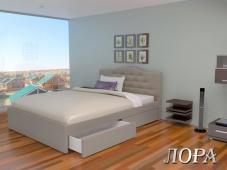 Мягкая кровать с выдвижными ящиками «Лора»