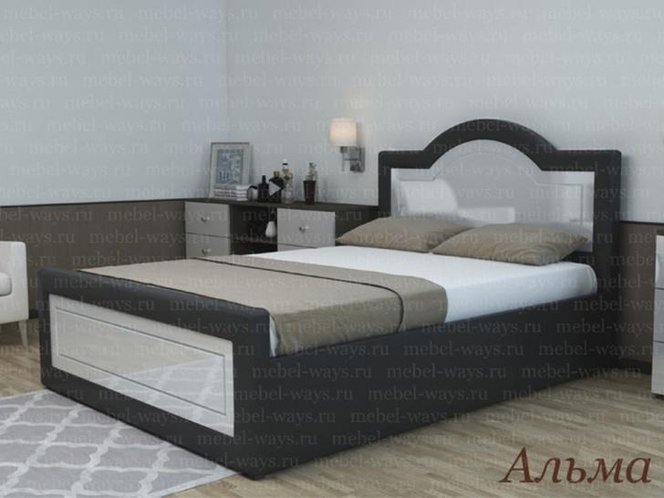 Мягкая спальная кровать с фигурным изголовьем «Альма»