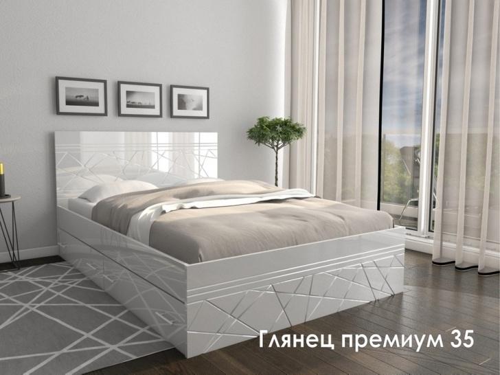 Недорогая белая кровать «Глянец Премиум – 35»