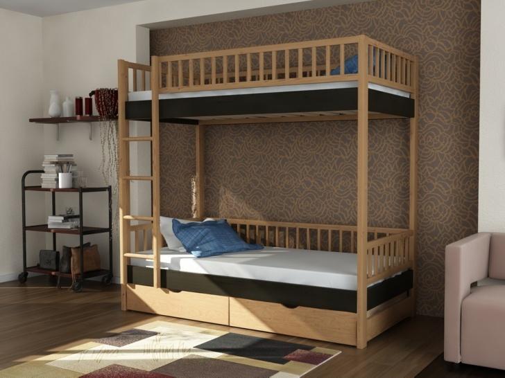 Недорогая двухэтажная кровать из дерева «Руфина 30» в контрастных оттенках