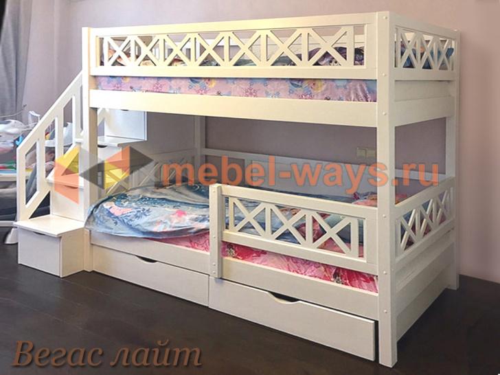 Недорогая красивая двухъярусная кровать для детей с бортиками Вегас Лайт