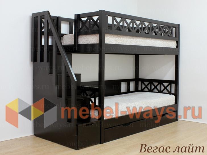 Недорогая красивая двухъярусная кровать для детей «Вегас Лайт» без бортика