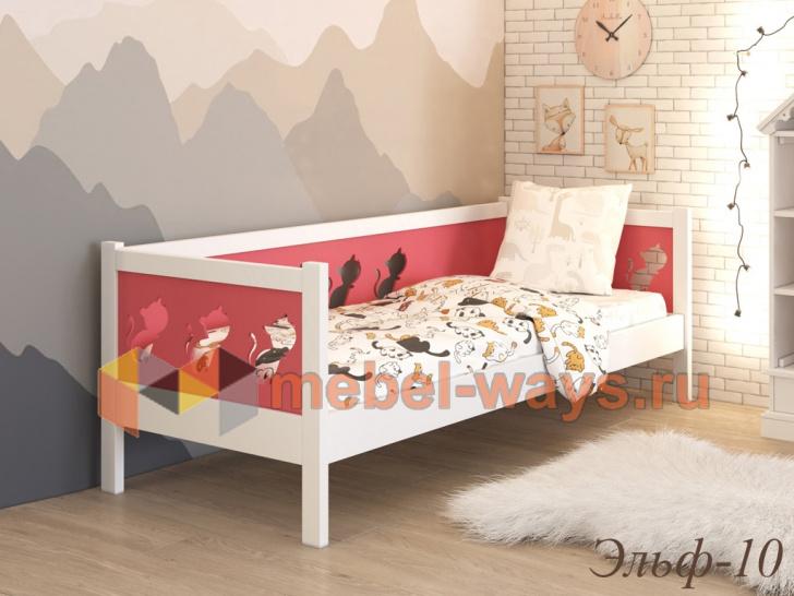 Необычная детская кровать с кошками на спинках «Эльф-10»
