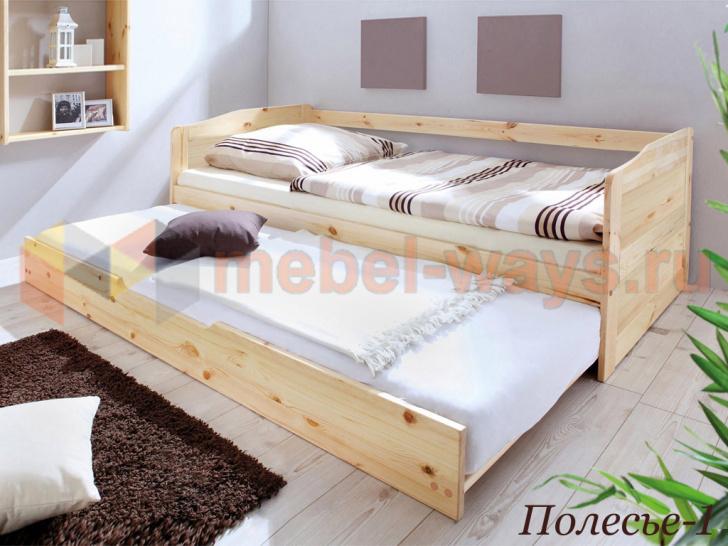 Односпальная кровать из дерева с выкатным спальным местом «Полесье-1» без покраски
