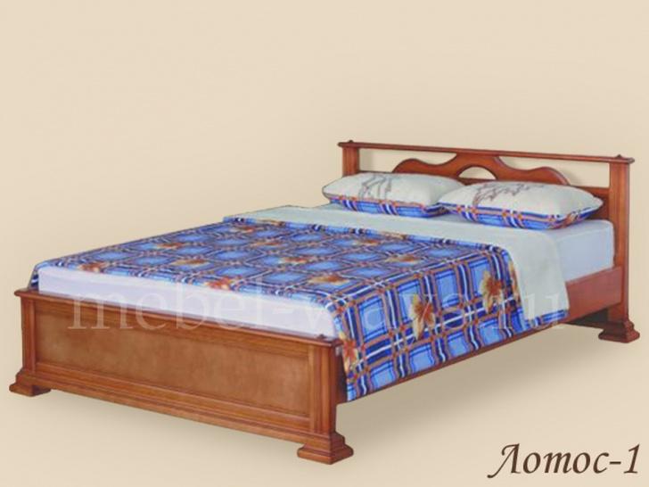 Кровать с резной деревянной спинкой «Лотос-1»