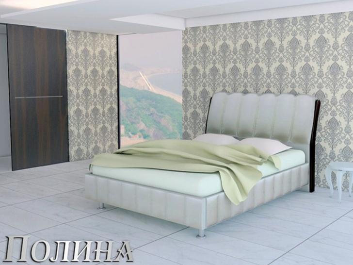Кровать с белым мягким изголовьем «Полина»