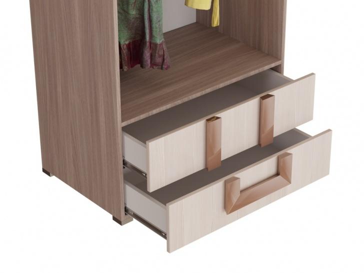 Распашной шкаф для одежды с выдвижными ящиками «Дизайн Люкс – 28» с ящиками