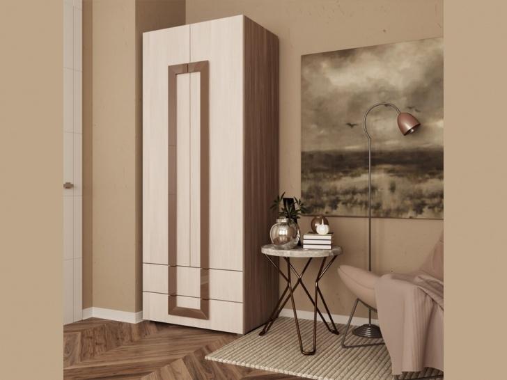 Распашной шкаф для одежды с выдвижными ящиками «Дизайн Люкс – 28»