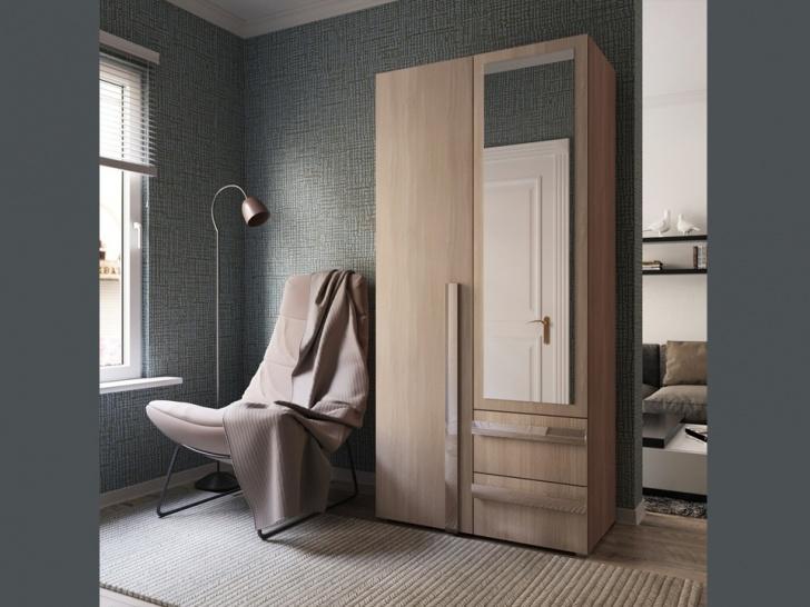 Распашной шкаф с зеркалом «Дизайн Люкс - 1»