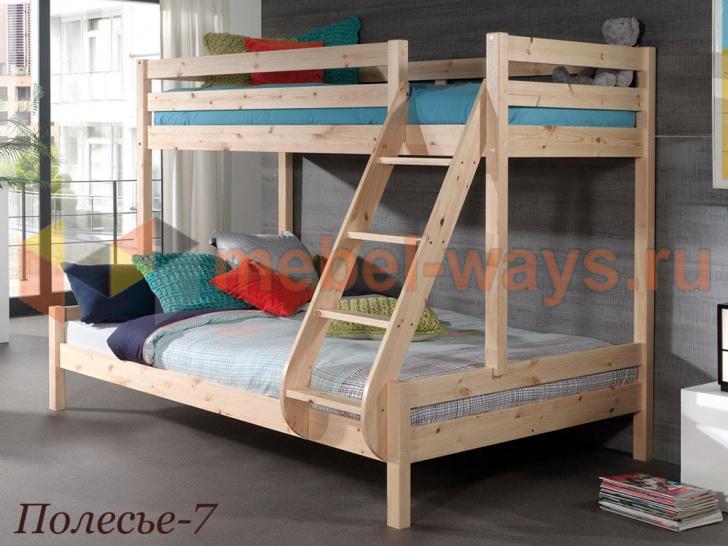Семейная двухъярусная кровать с широким нижним местом «Полесье-7» без покраски