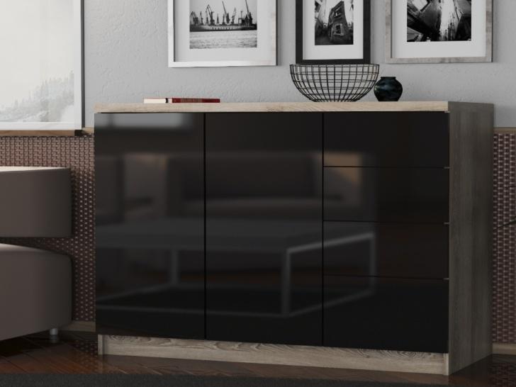 Черный глянцевый комод «Шайн-18»