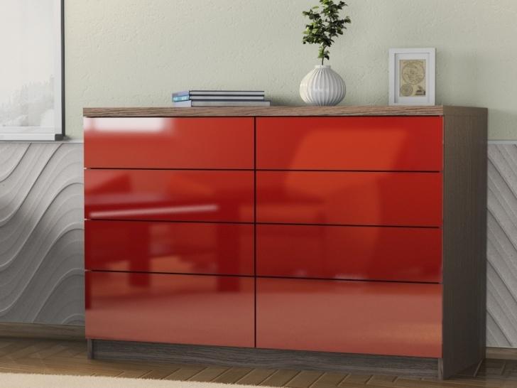 Глянцевый комод красного цвета «Шайн-19»