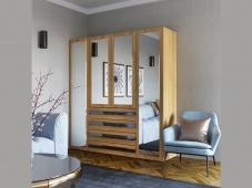 Шкаф четырехстворчатый распашной с зеркалом «Дизайн Люкс – 15»