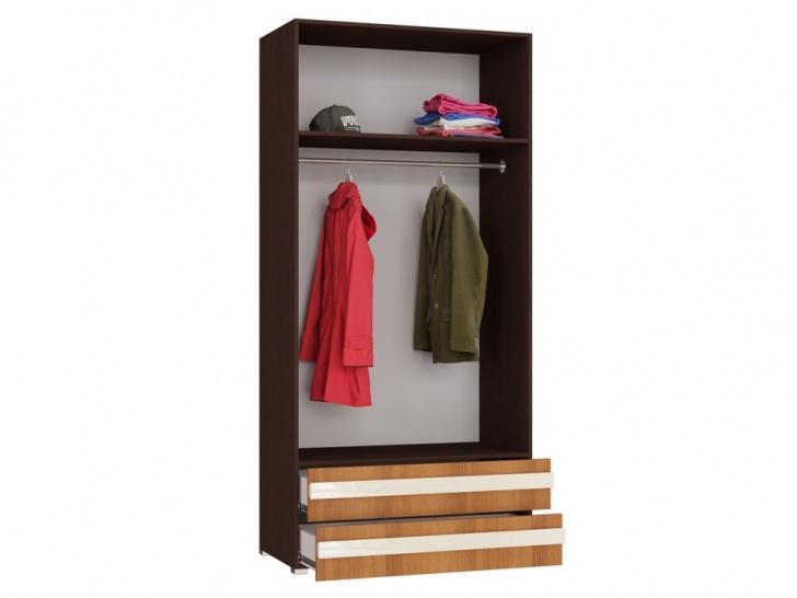 Шкаф с ящиками и полками для одежды «Дизайн Люкс – 5» внутри