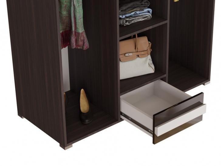 Шкаф в спальню с распашными дверями «Дизайн Люкс – 23» с ящиками