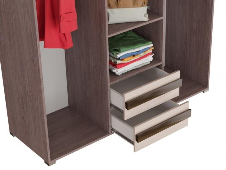 Трехстворчатый шкаф с зеркалами «Дизайн Люкс – 10» с ящиками