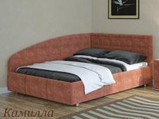 Угловая двуспальная кровать с мягкими спинками-бортиками «Камилла»
