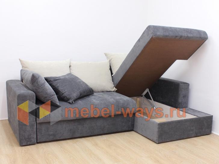 Угловой диван еврокнижка «Гамбург» с бельевыми ящиками