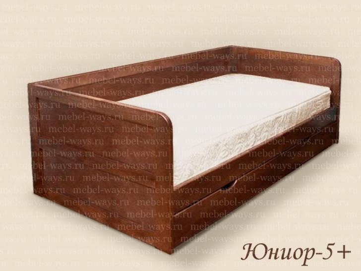 «Юниор 5+» - кровать деревянная с бортиками